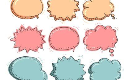 Ici nous pouvons apercevoir une illustration avec des bulles de bande déssiné qui est une analogie au message dans la communication verbale et non verbale